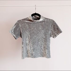 Tops - shiny silver velour mockneck bellytop from the 90s